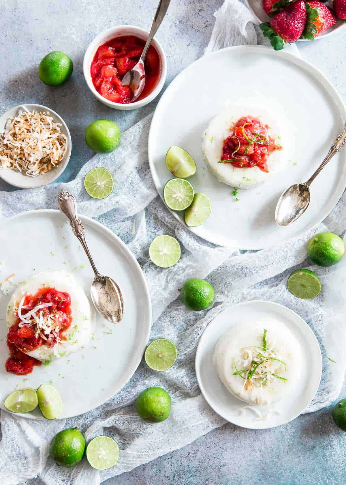 This creamy coconut panna cotta is dairy free and filled with tart key lime flavor.