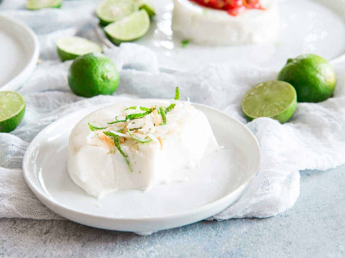 Coconut panna cotta with key lime will transport you to the a tropical vacation in the first bite.