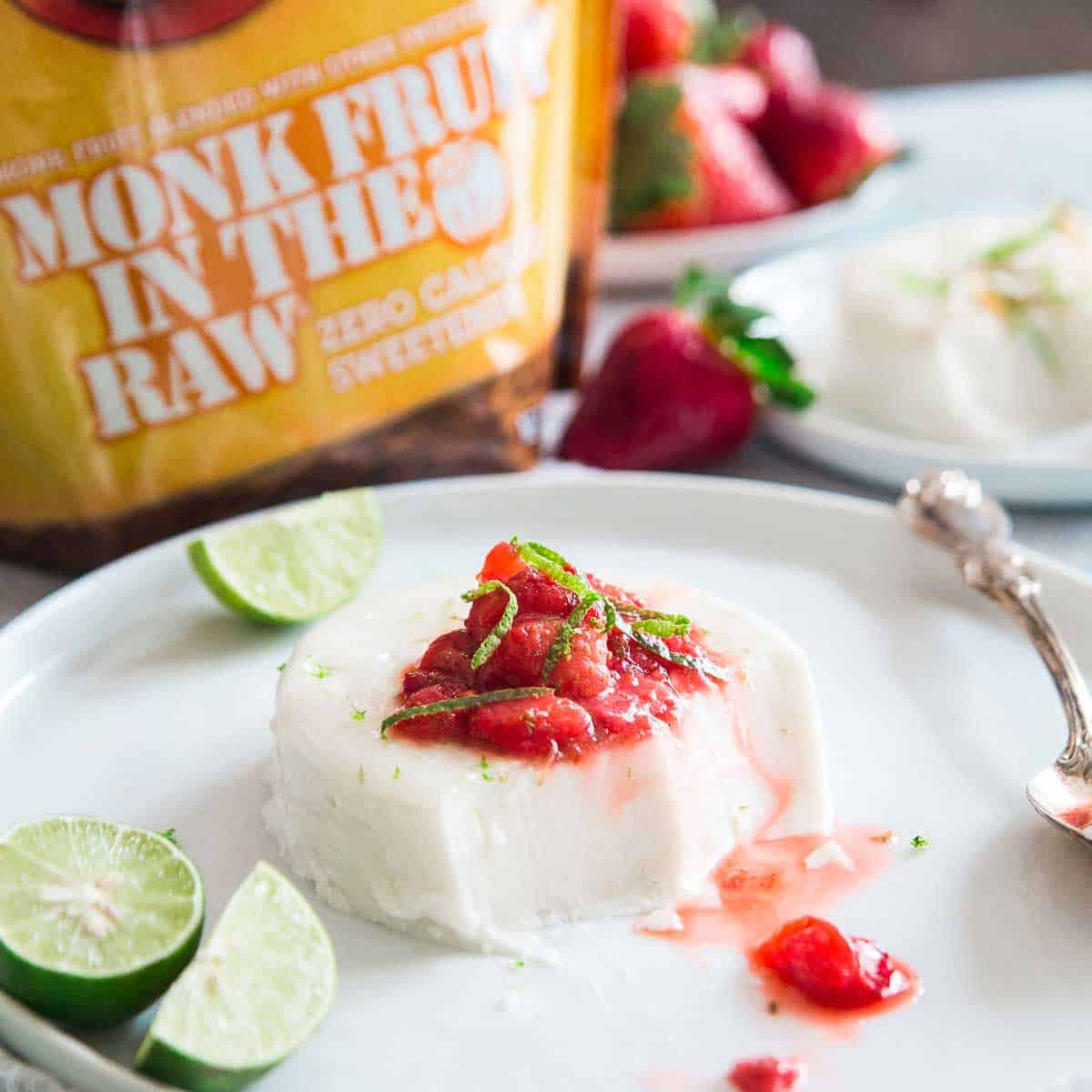 Sweetened with monk fruit in the raw, this coconut panna cotta is low-carb and dairy free yet just as delicious as the classic cream based recipe.