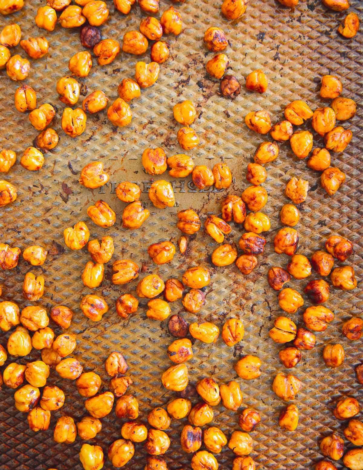 This simple roasting method makes the best crunchy BBQ chickpeas for snacking or adding to salads.