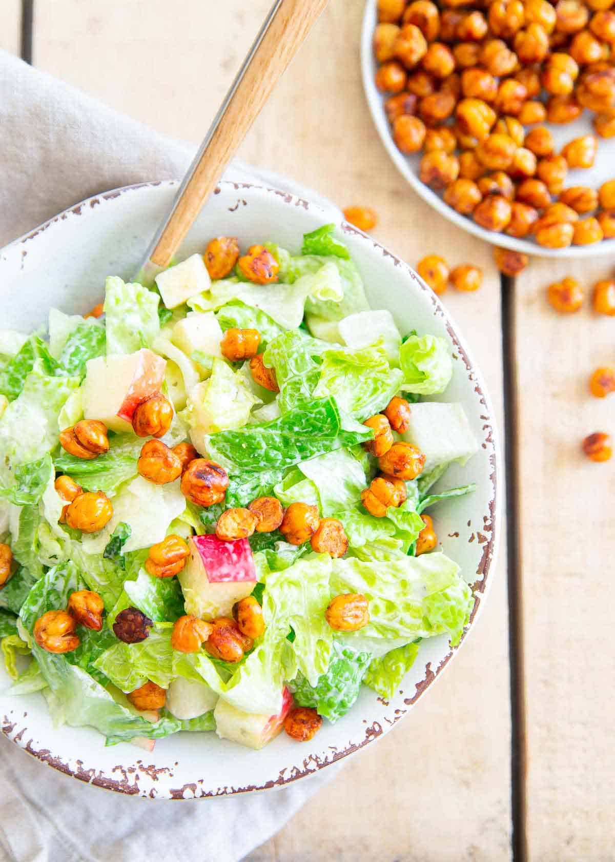 Try adding crunchy BBQ roasted chickpeas to your salad for a pop of flavor and texture in each bite.
