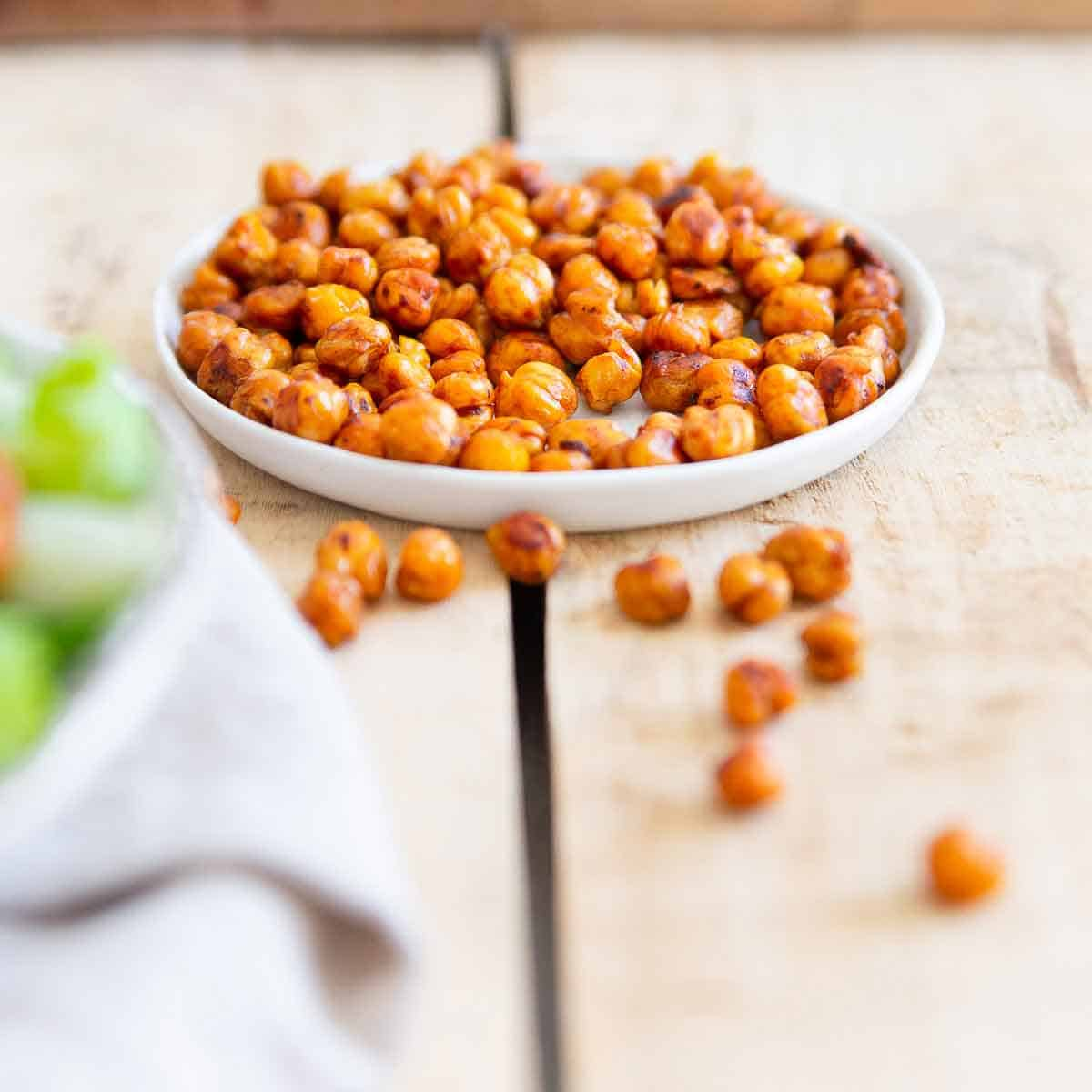 These crunchy roasted BBQ chickpeas are great for healthier snacking or adding to salads for some texture and delicious flavor.