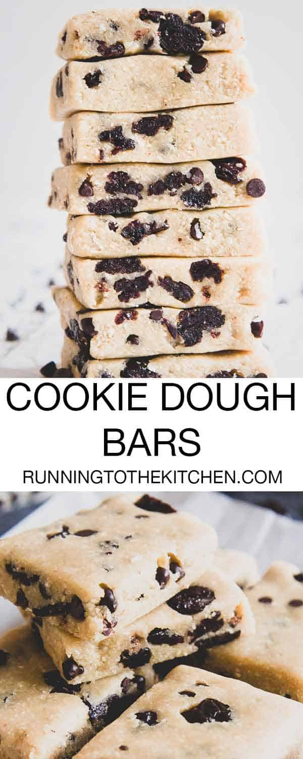 No bake cookie dough bars with chocolate chips and cherries make a delicious, healthier snack or treat for any time of day.