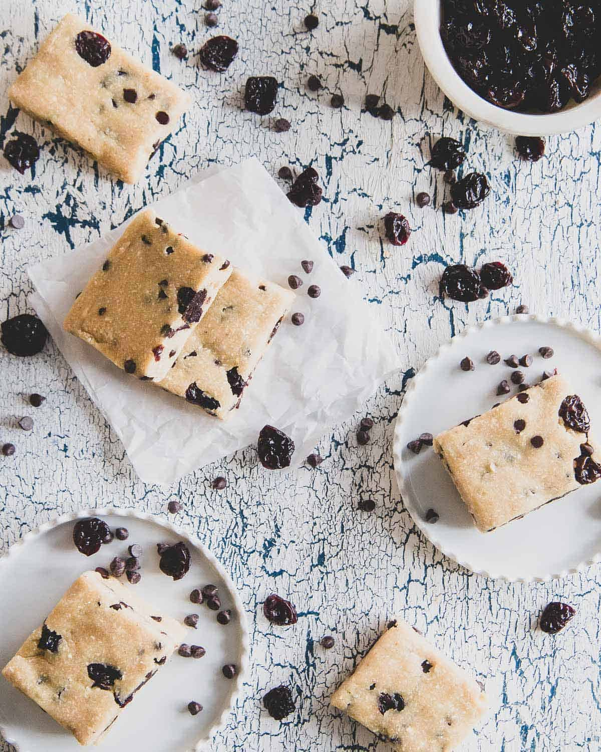 Edible cookie dough without the guilt! These no bake cookie dough bars are a healthier twist than licking the cookie bowl clean.