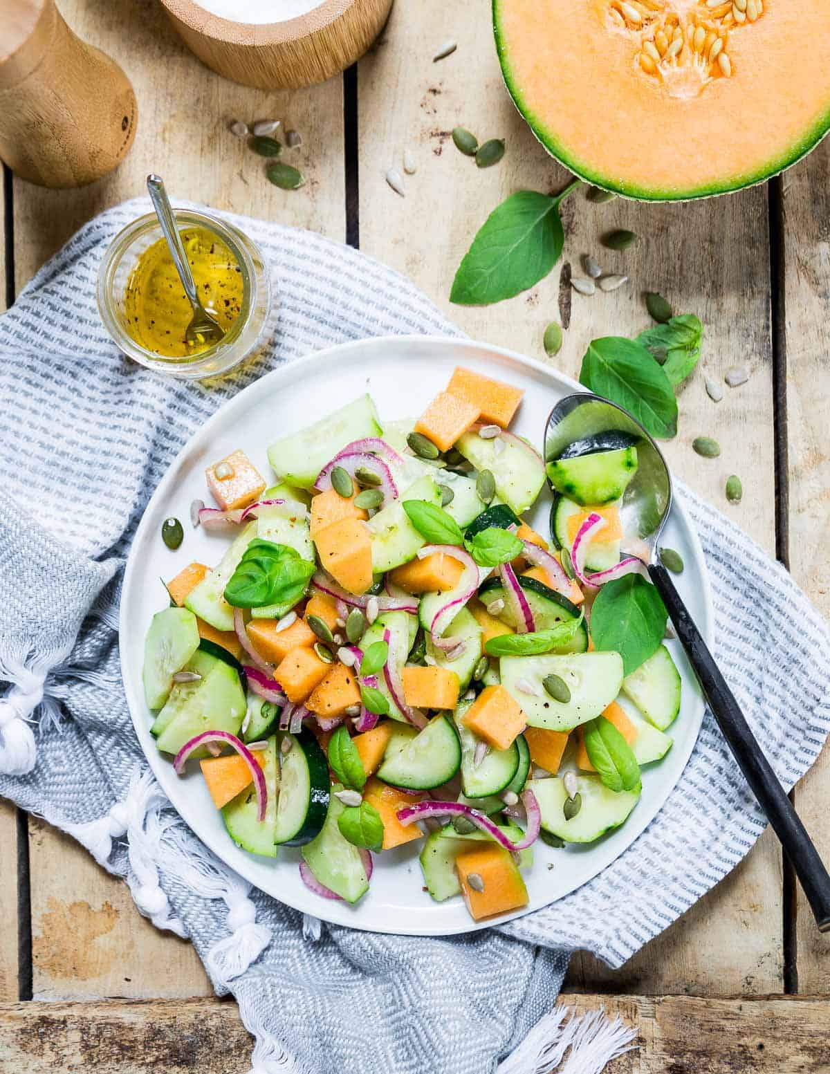 Cantaloupe cucumber salad is a refreshing summer side dish perfect with any grilled meat.