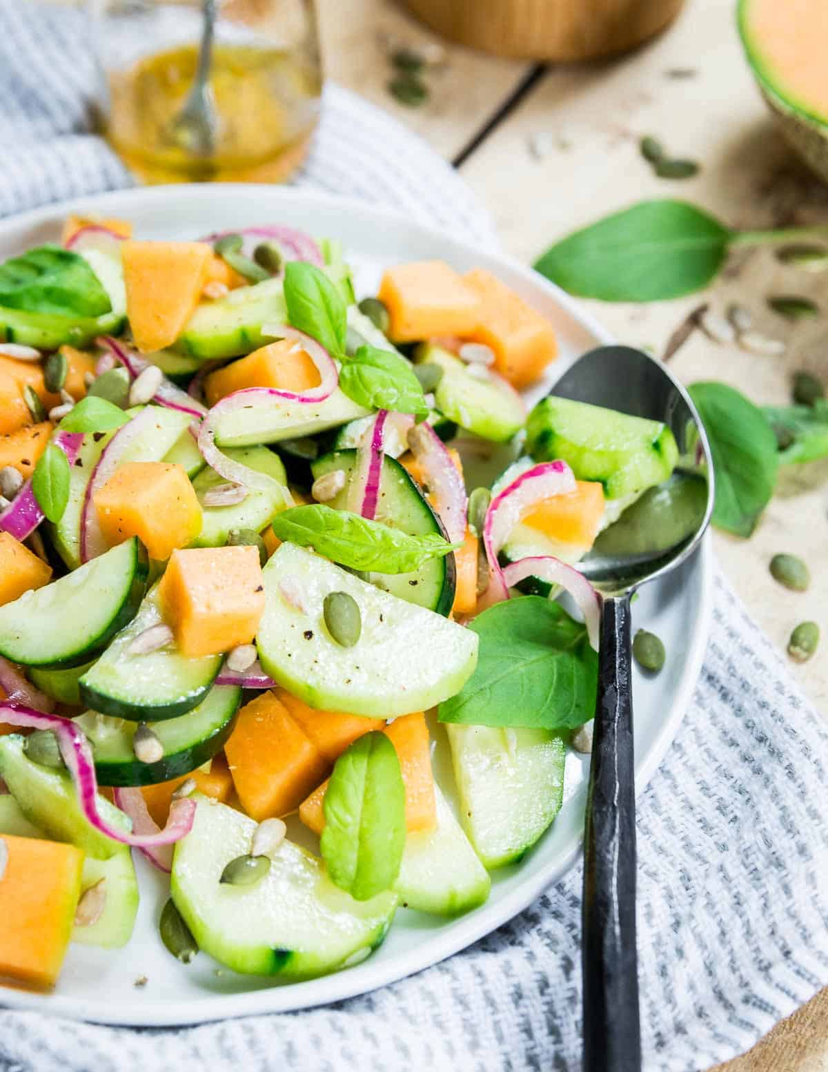 Cucumber melon salad is light and refreshing for an easy side dish to any summer meal.