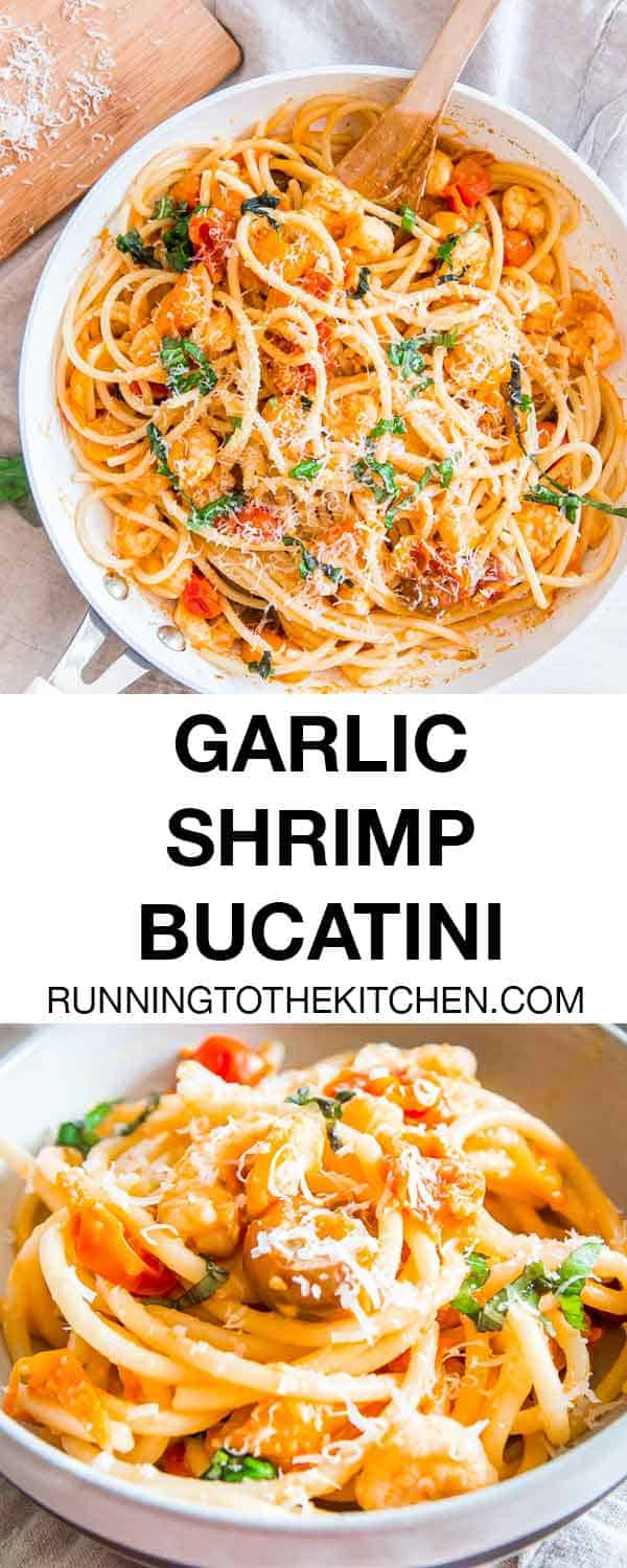 When you need an easy dinner in minutes, this garlic shrimp bucatini recipe is the answer!
