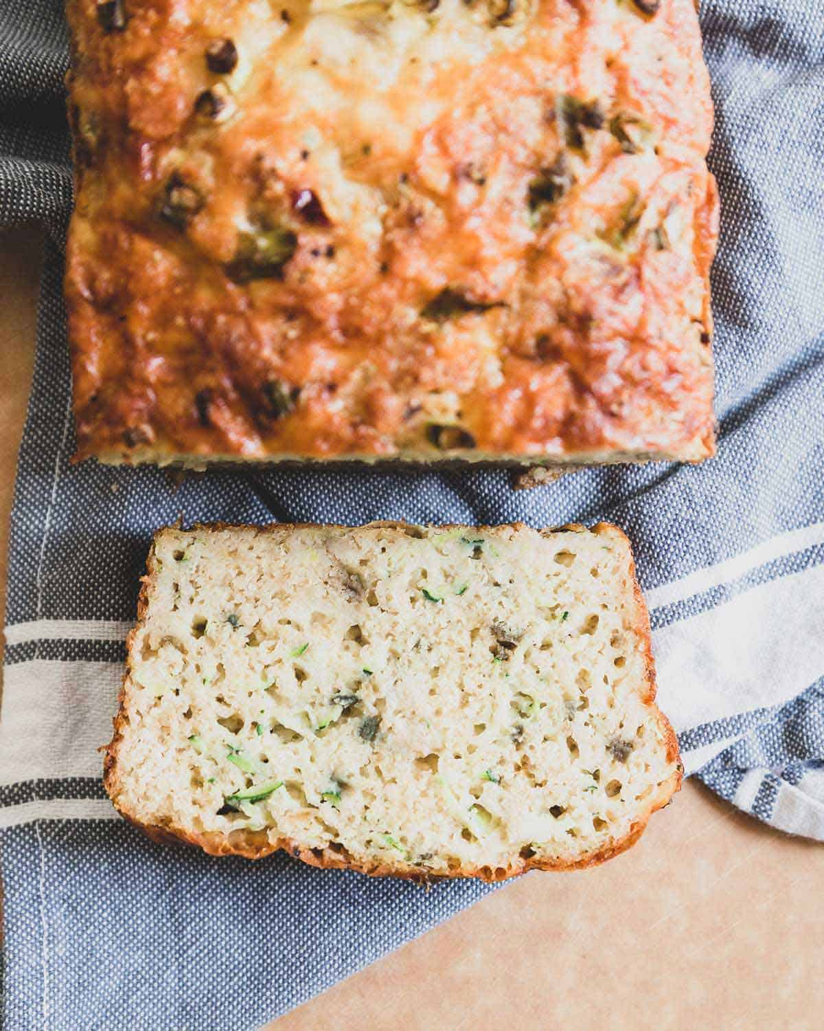 A savory zucchini cheese bread recipe perfect for using up fresh summer squash.