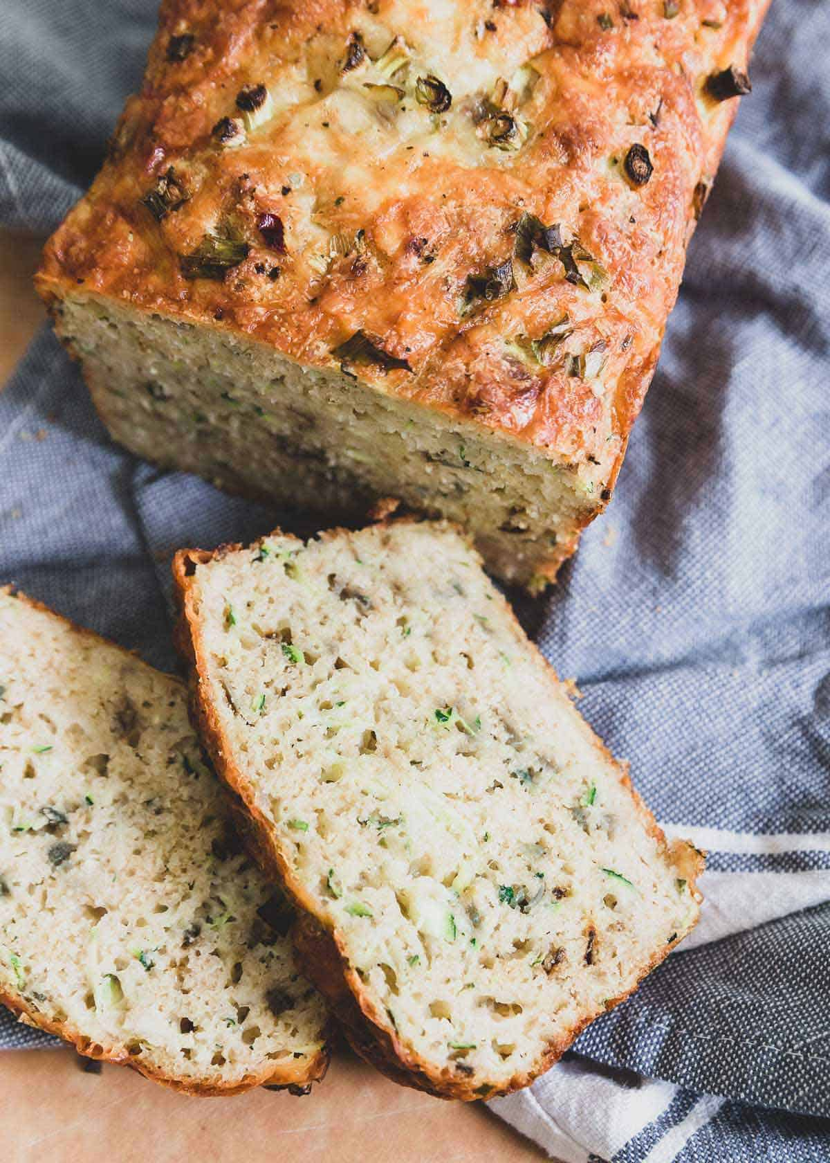 Filled with savory red onions and pepper jack cheese this recipe for cheesy zucchini bread is the best!