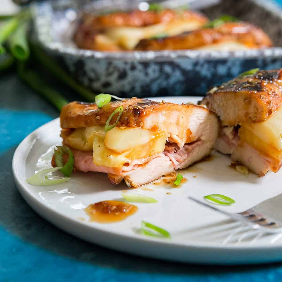 Stuffed Hawaiian chicken breast with ham cheese and pineapple made on the BBQ.