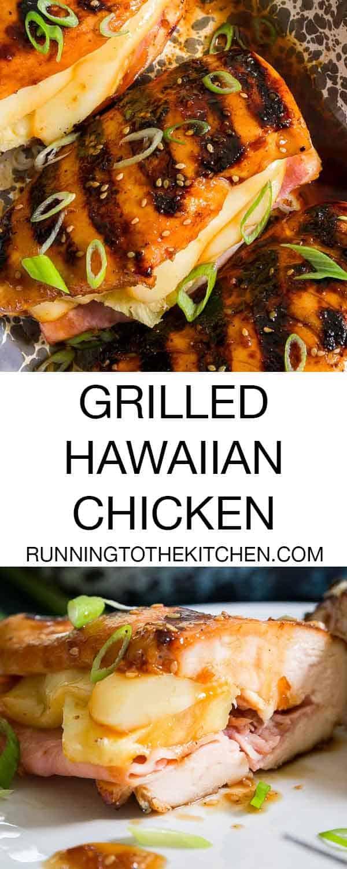 Stuffed Hawaiian BBQ chicken with sweet teriyaki glaze, pineapple, cheese and ham.