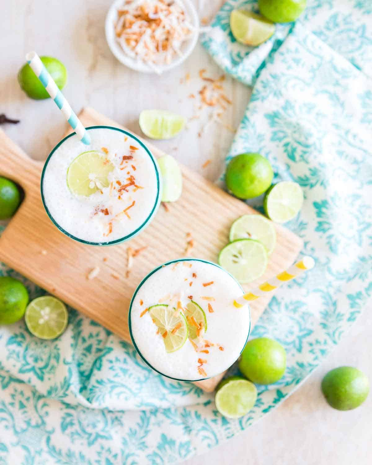 A refreshing lime and coconut smoothie recipe that tastes just like key lime pie.