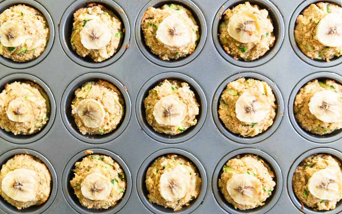 Healthy banana zucchini muffins make a great end of summer snack.