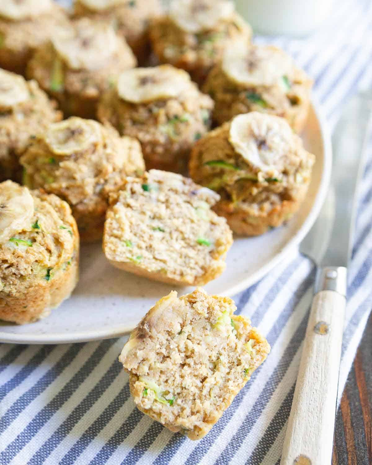 These zucchini banana mini-muffins are naturally sweetened, super moist and the perfect bite-sized snack.