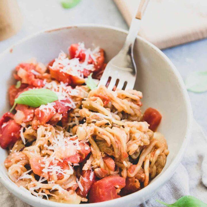 Eggplant noodles with tomato basil sauce