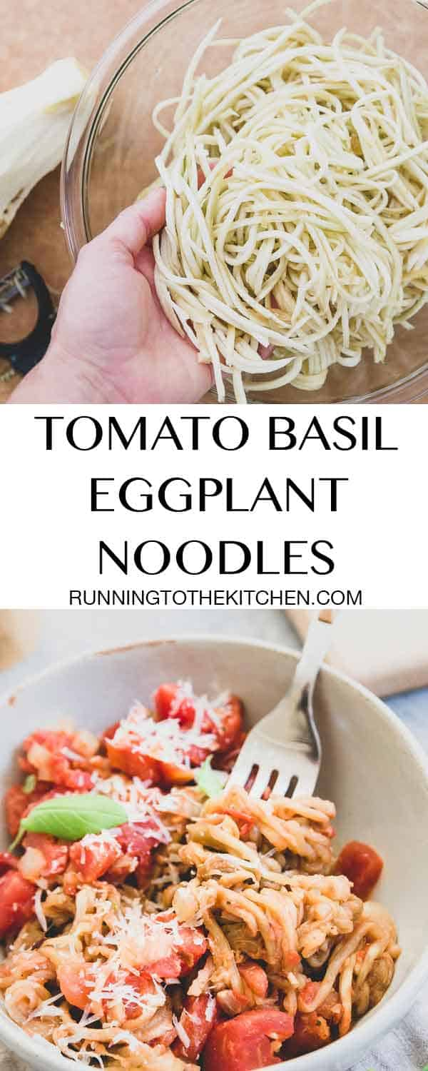Learn how to spiralize eggplant noodles with a julienne peeler and make this quick and easy tomato basil eggplant noodle recipe.