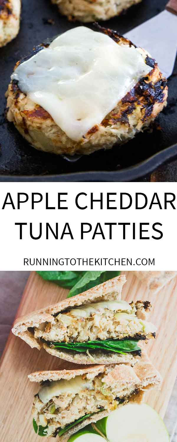 Cheddar topped tuna patties made in the skillet and filled with apples for a fall twist.