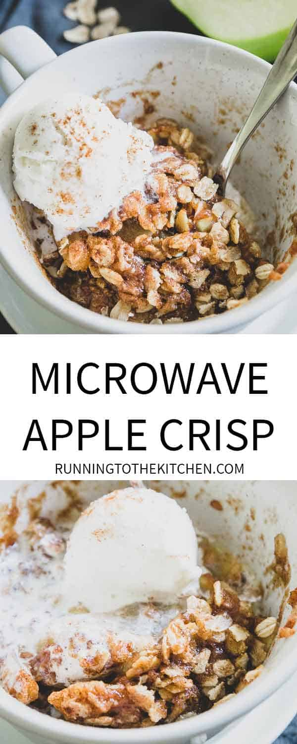 Microwave mug apple crisp is an easy and quick recipe for fall when you need a single serve dessert idea!