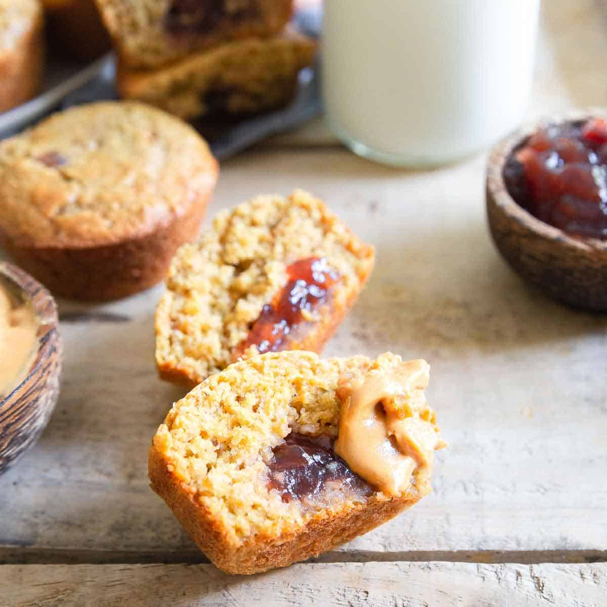 With a tender crumb texture, slightly sweet peanut butter flavor and a jelly center, these pb&j muffins are a winner!