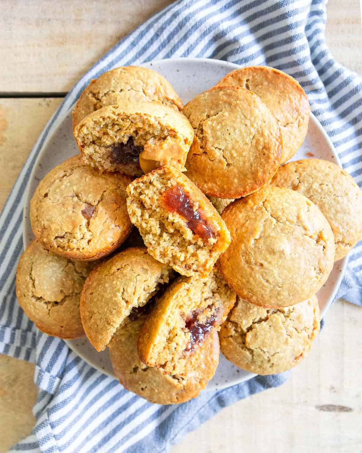 An easy recipe for peanut butter and jelly muffins to snack on all week long.