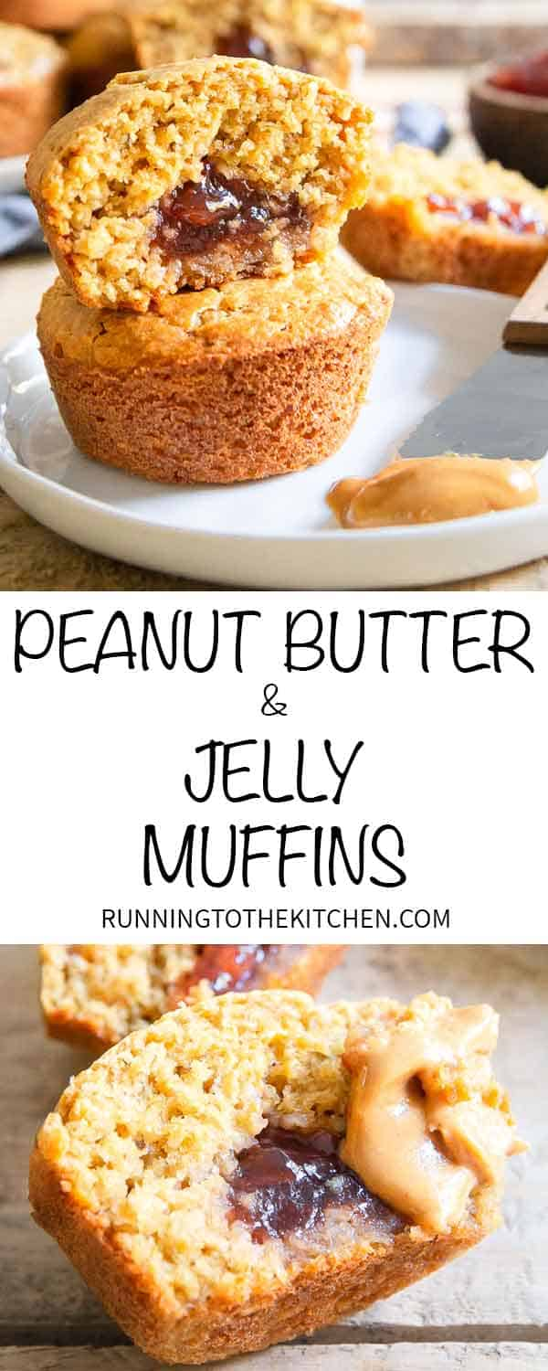 Pack one of these peanut butter jelly muffins in a lunchbox for kids or an afternoon pick me up for a long work day!