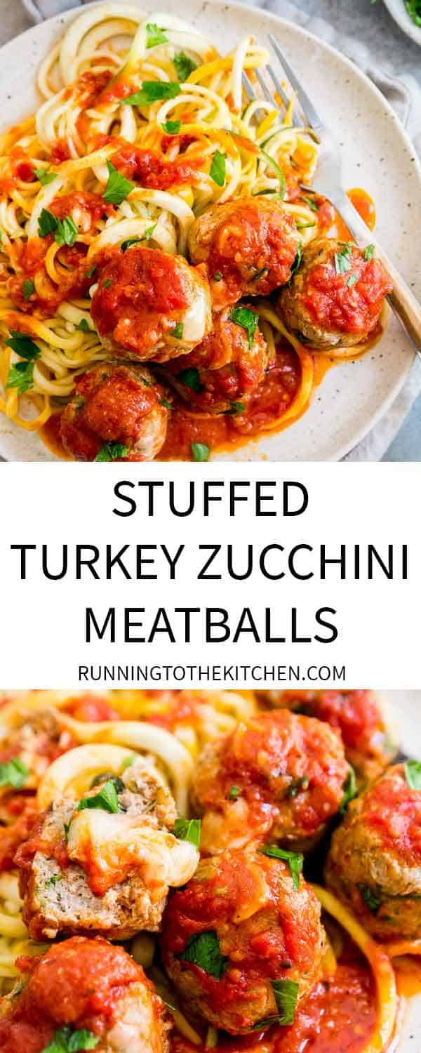Easy skillet cooked turkey zucchini meatballs stuffed with gooey cheddar cheese and simmered in your favorite jarred tomato sauce.