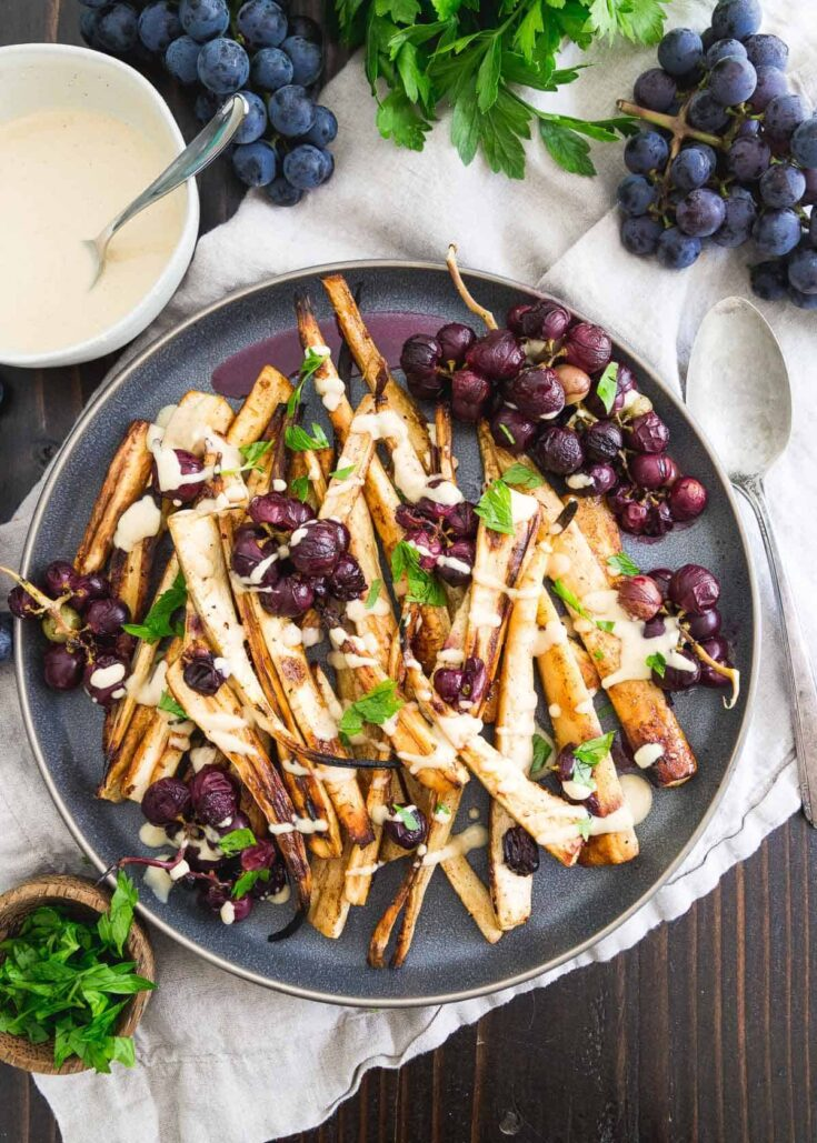 Cinnamon Brown Sugar Roasted Parsnips and Grapes