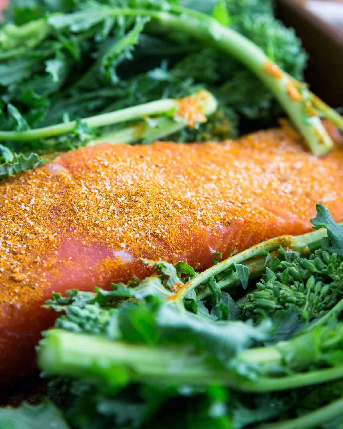 This easy turmeric based spice rub is perfect on wild salmon for a quick, easy and healthy dinner.