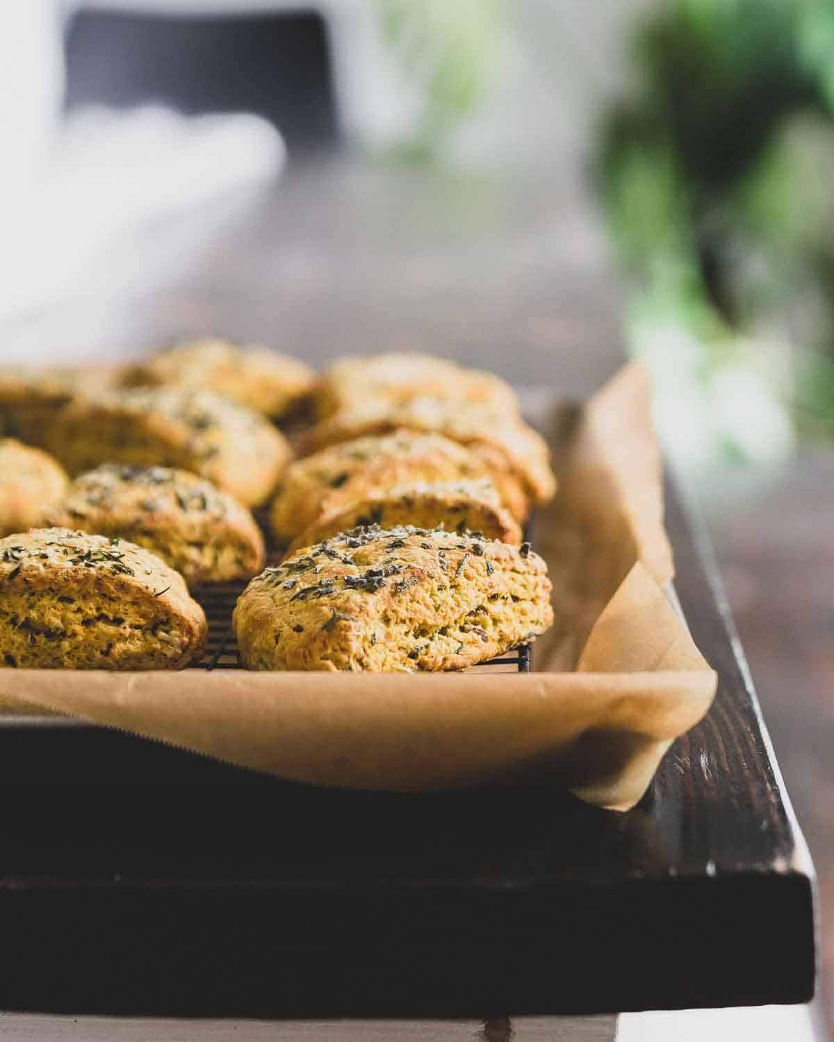 Savory pumpkin scones with parmesan cheese and fresh sage and pecans.