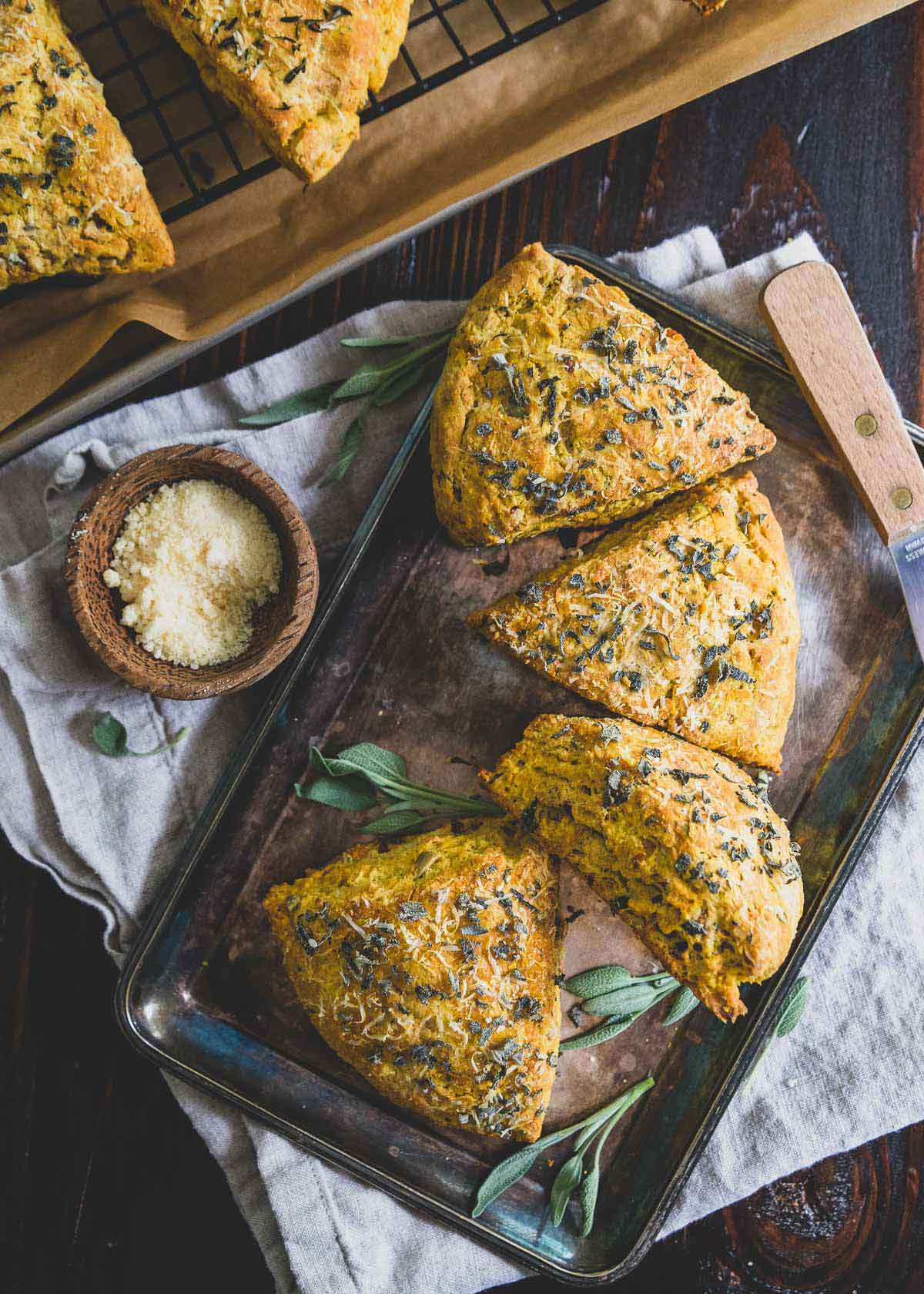 Savory pumpkin scones make a great addition to your Thanksgiving holiday menu.