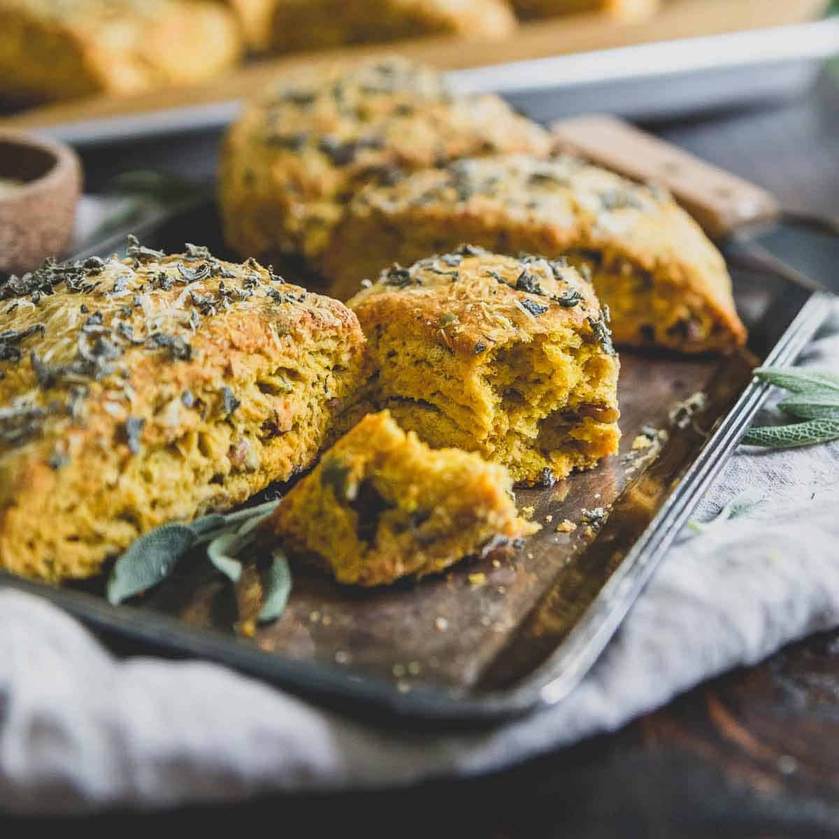 Buttery, flaky and filled with savory flavors, these pumpkin scones are perfect for the holidays.
