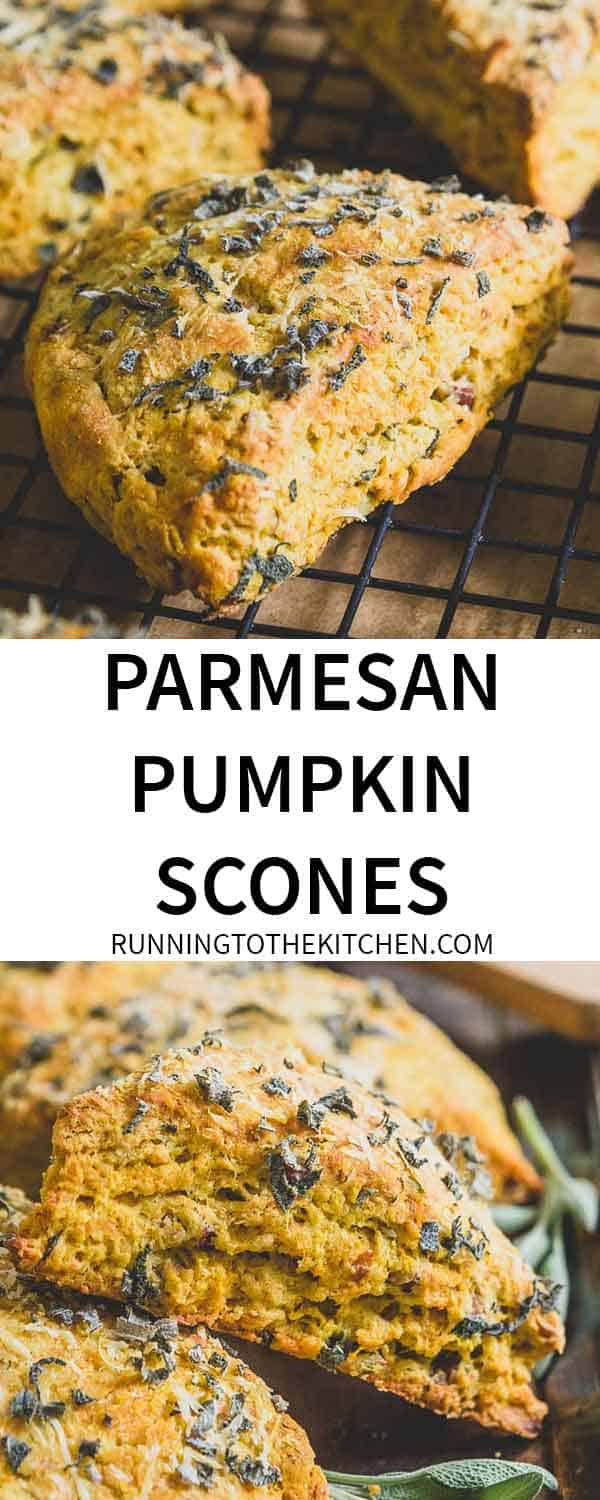 Small batch, easy to make parmesan pumpkin scones are filled with fresh herbs, nuts and seeds.