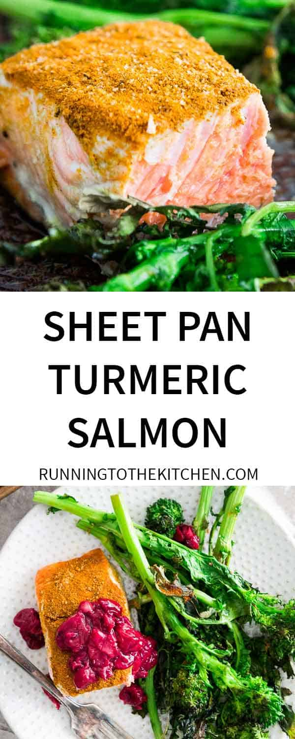 A turmeric spice blend coats wild salmon for an easy sheet pan dinner. Served with broccoli rabe and a quick cherry sauce.