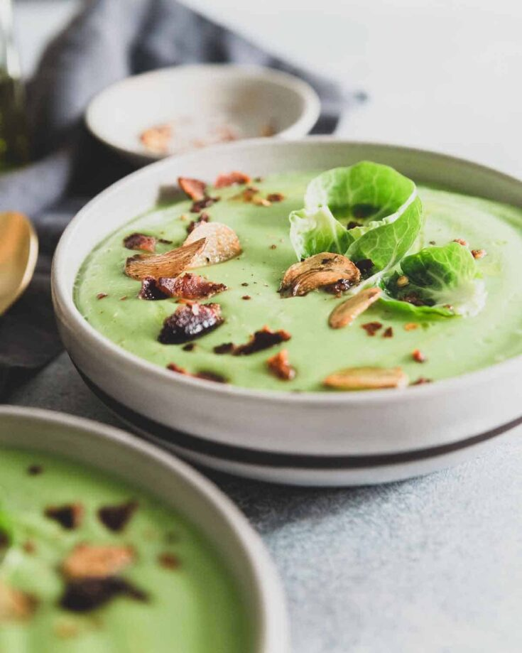 Creamy Garlic Brussels Sprout Soup