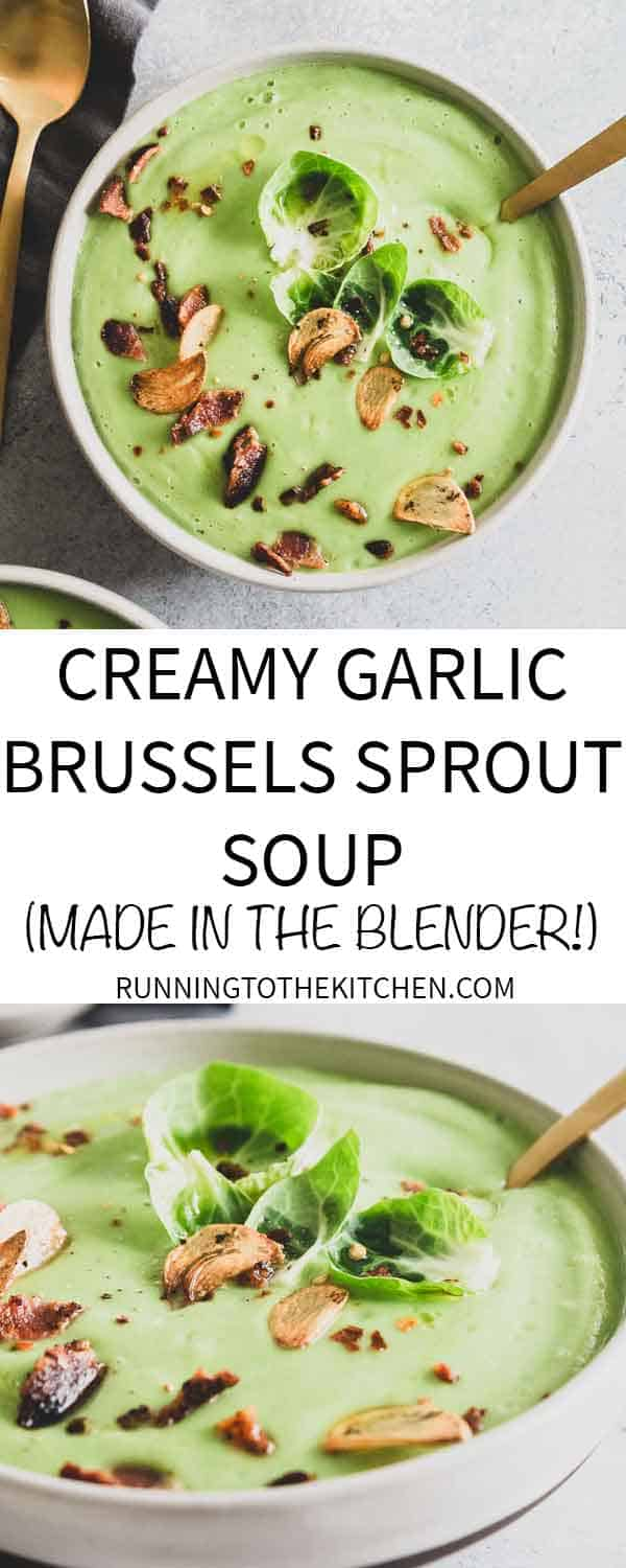 This easy Brussels sprout soup is creamy and decadent while being dairy free! Make it in minutes in your blender!