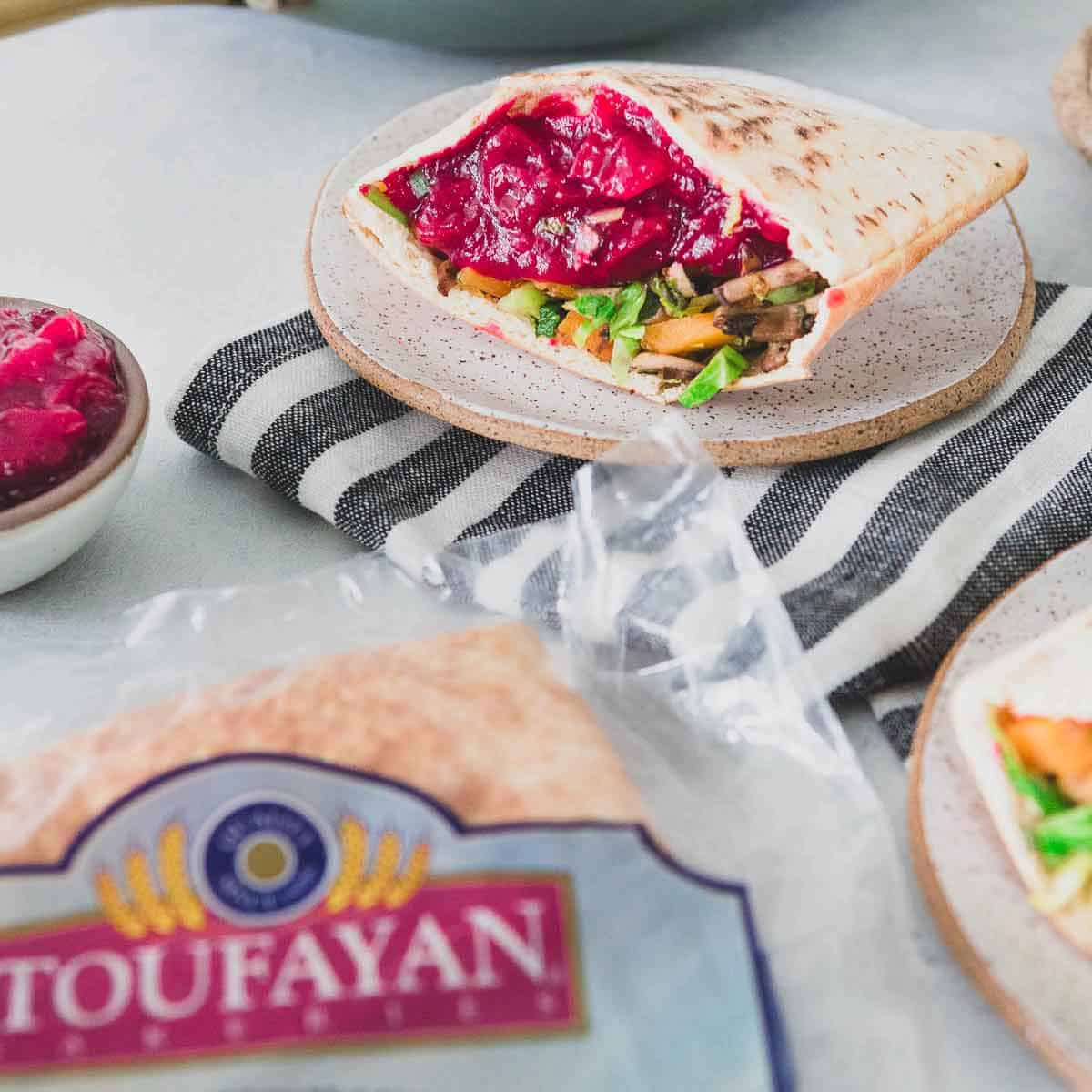 Toufayan Smart Pockets are the perfect pita bread for using up leftover Thanksgiving vegetables and cranberry sauce.
