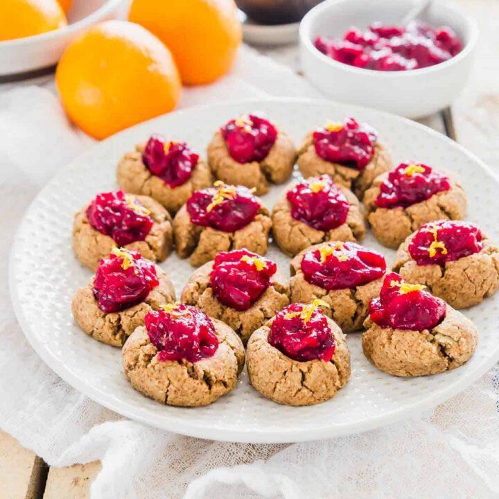 cranberry orange thumbprint almond pulp cookies