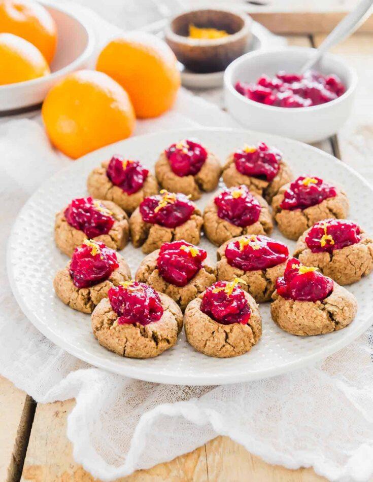 Almond Pulp Cookies (Cranberry Orange Thumbprints)
