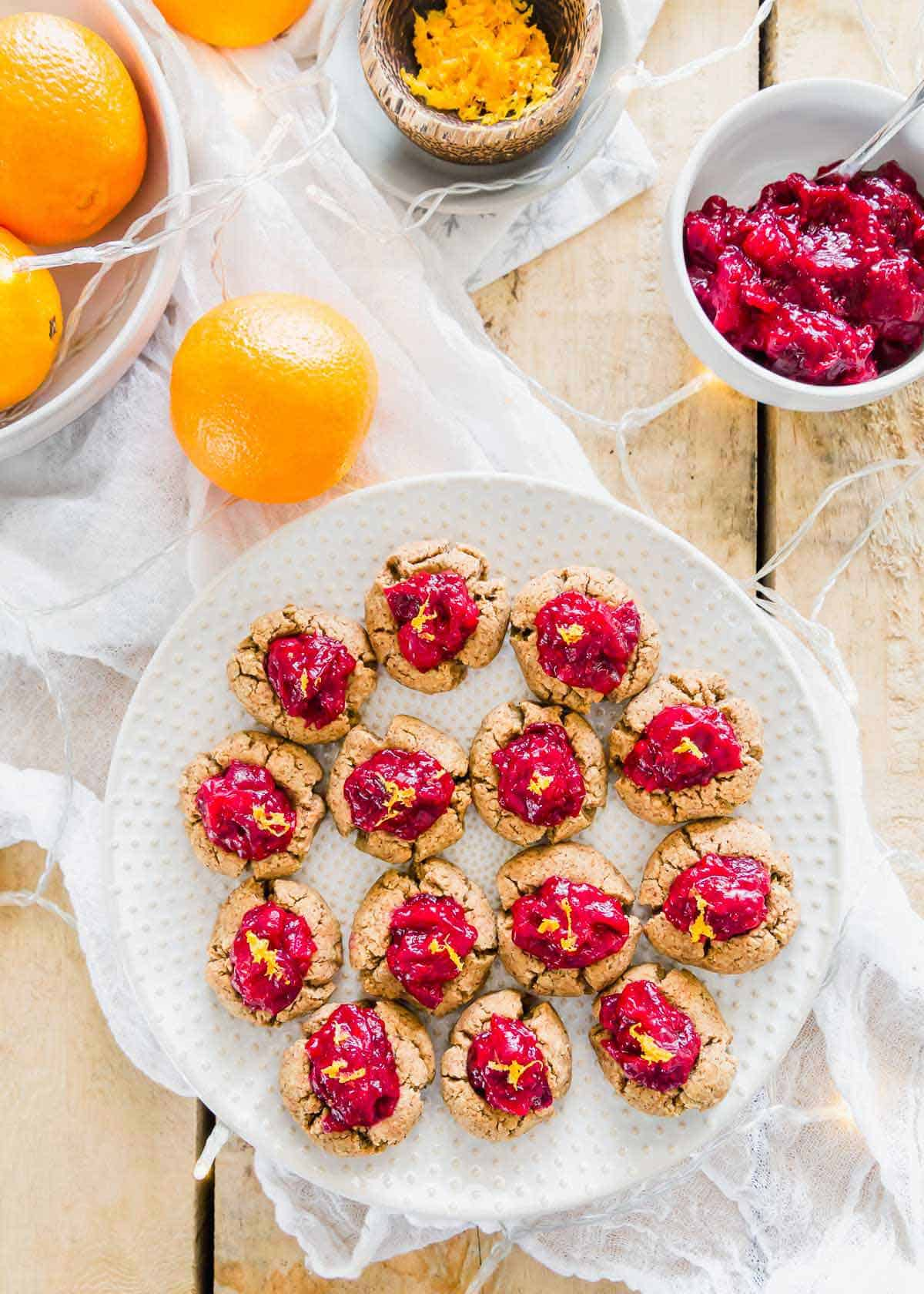 These easy thumbprint cookies are made using almond pulp from homemade almond milk so nothing goes to waste!