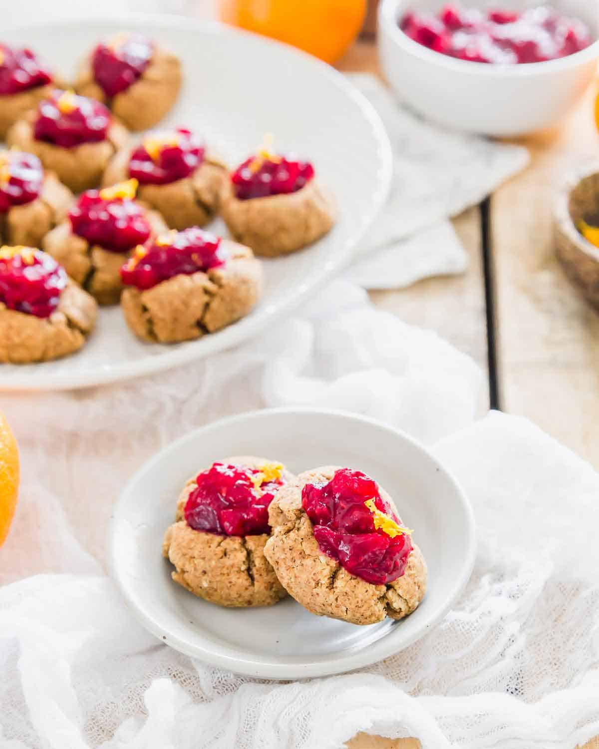 """Cranberry orange almond thumbprint cookies made from leftover almond pulp are an easy, healthy and delicious way to use the """"waste"""" from homemade almond milk."""