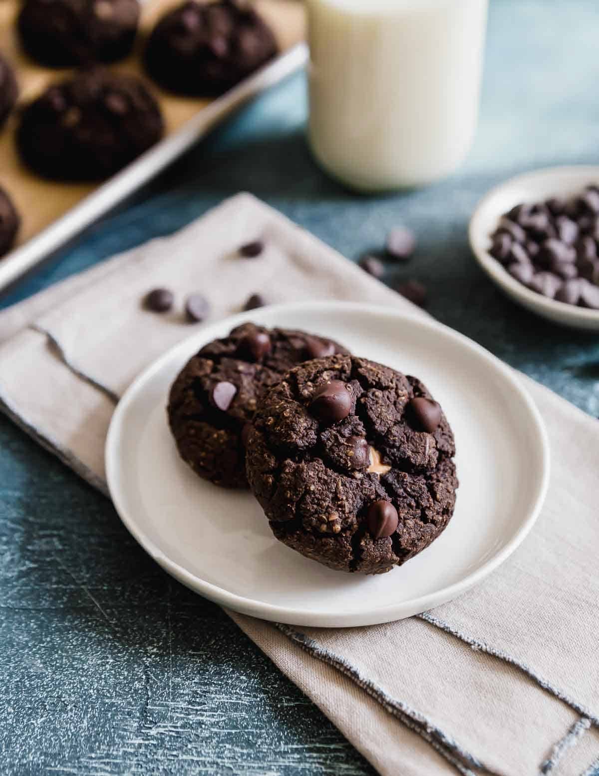 Fudgy black bean cookies stuffed with peanut butter
