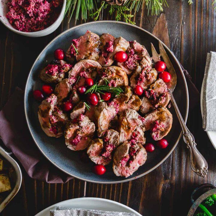 cranberry pesto stuffed lamb