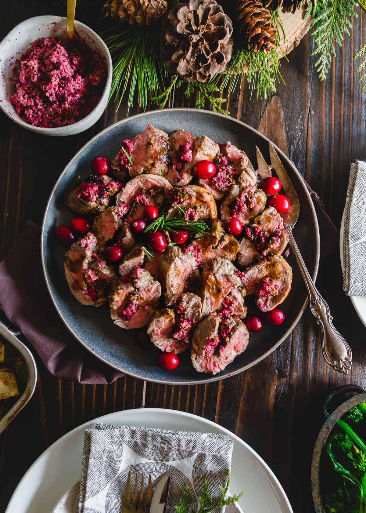 cranberry pesto stuffed lamb