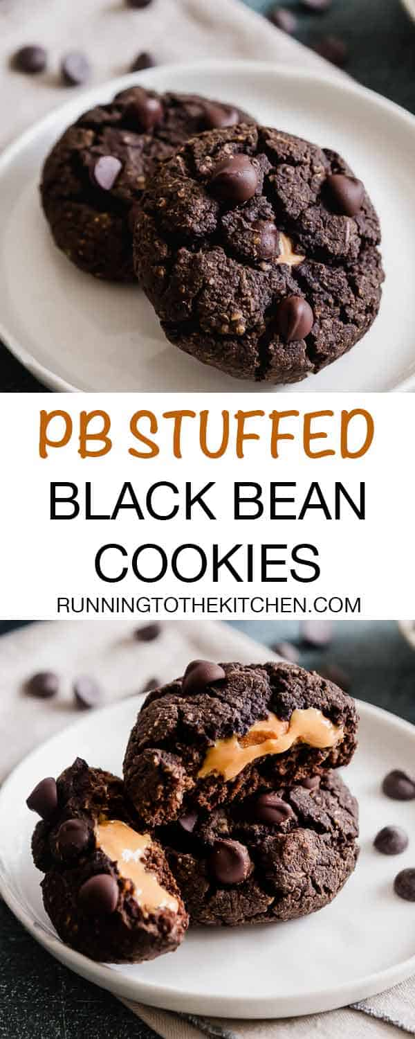 Peanut butter stuffed soft chocolate black bean cookies. #blackbeancookies #fudgecookies #glutenfreecookies #stuffedcookies