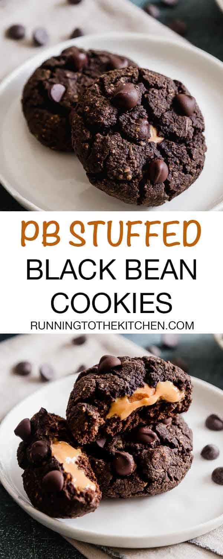 Peanut butter stuffed soft chocolate black bean cookies. #blackbeancookies #fudgecookies #glutenfreecookies #stuffedcookies
