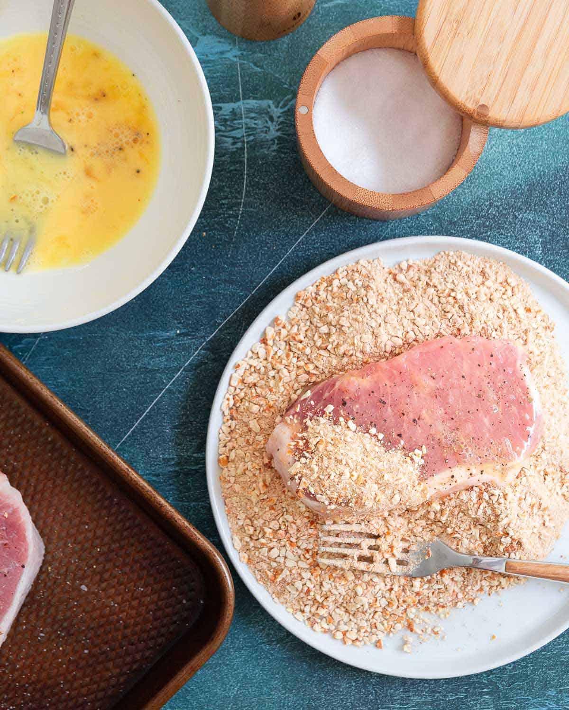 Easy pretzel coated baked pork chops