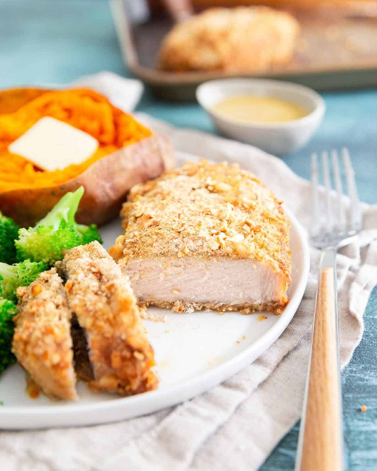Pretzel crusted baked pork chops are an easy and healthy dinner recipe everyone will love.