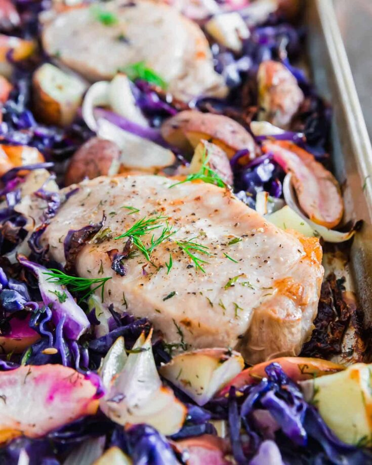 Sheet Pan Pork Chops with Cabbage, Apples and Potatoes