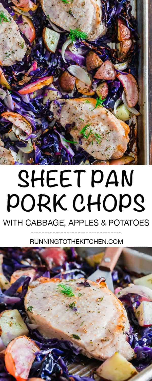 Pork chops, cabbage, potatoes and apples make a quick and easy sheet pan dinner. #sheetpandinner #sheetpanmeals #porkchops #sheetpanporkchops