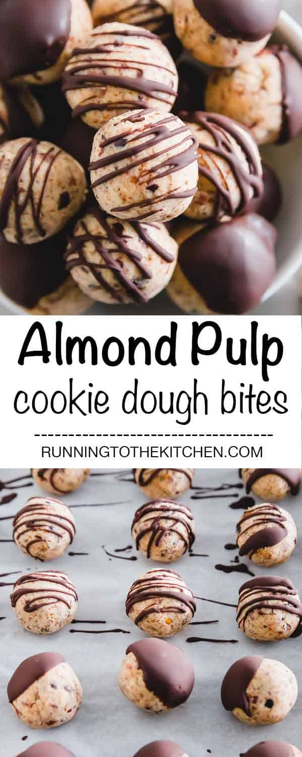 Vegan, gluten-free, dairy-free healthy cookie dough bites drizzled in chocolate are the ultimate treat!